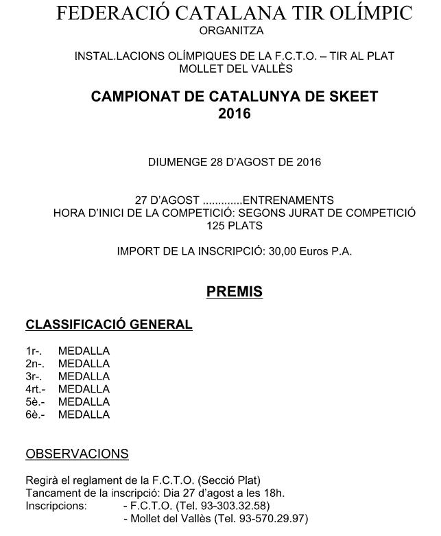 20160828 CATALUNYA SKEET - MOLLET